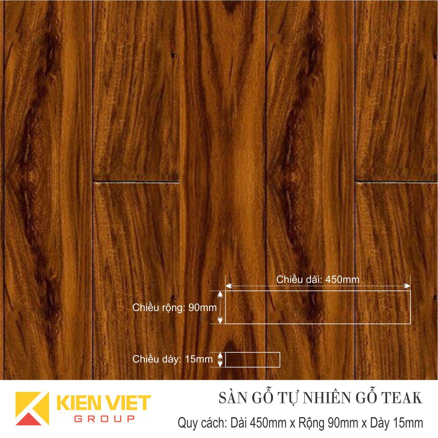 Sàn gỗ tự nhiên Teak 450x15mm