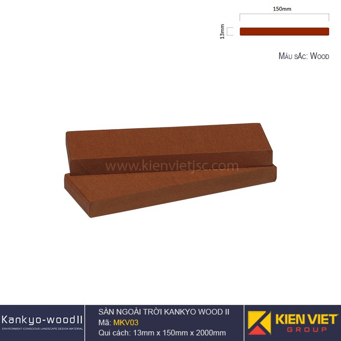 Sàn gỗ ngoài trời Kankyo-wood II | MKV03 Wood
