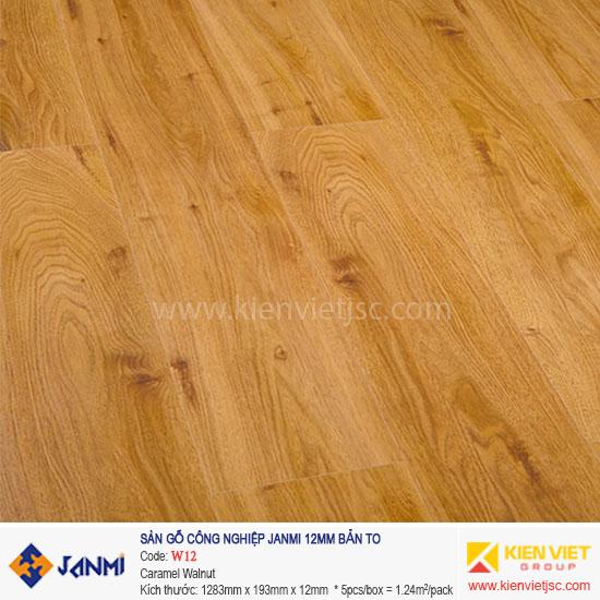 Sàn gỗ Janmi W12 Caramel Walnut | 12mm bản to