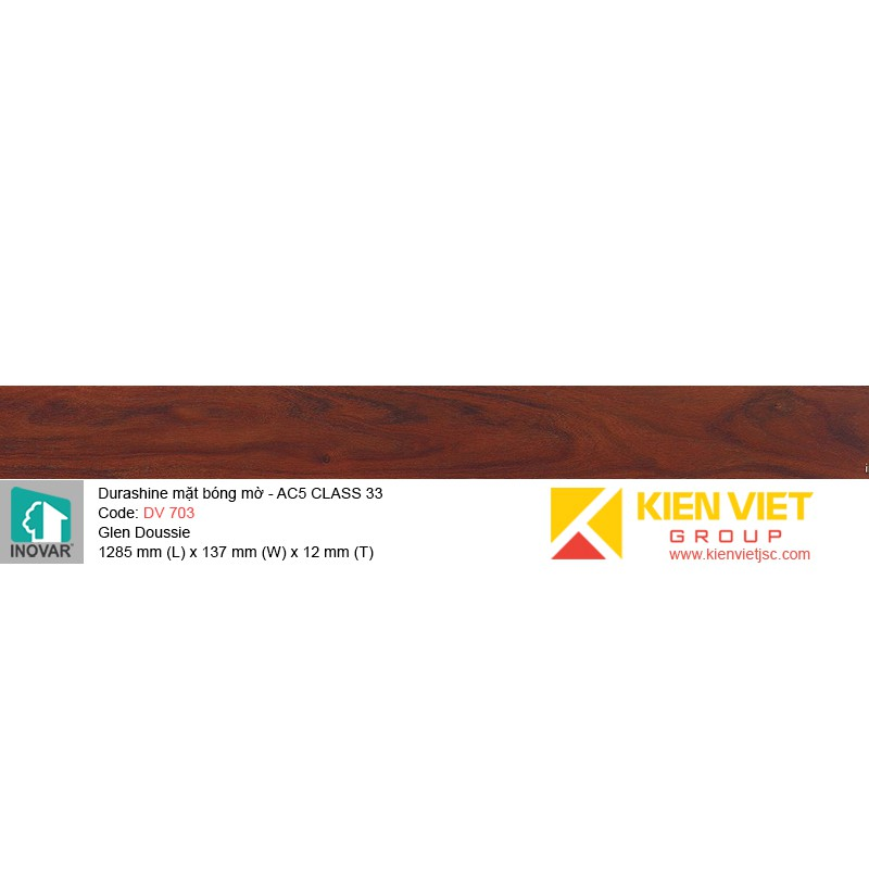 Sàn gỗ Inovar Durashine DV703 Glen Doussie   12mm