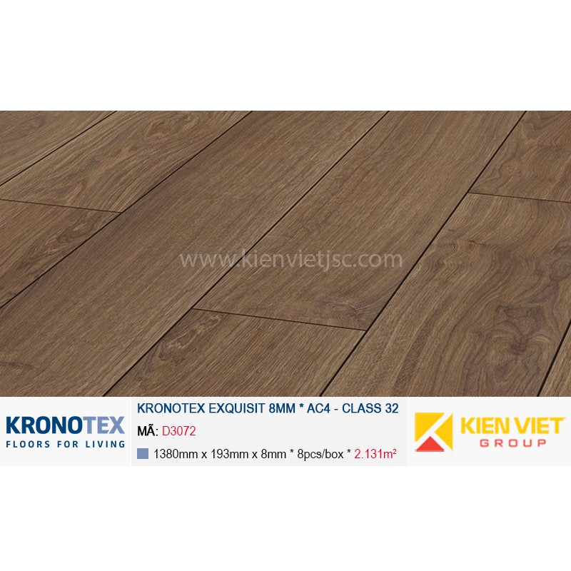 Sàn gỗ Kronotex Exquisit D3072 Waveless Oak Dark | 8mm