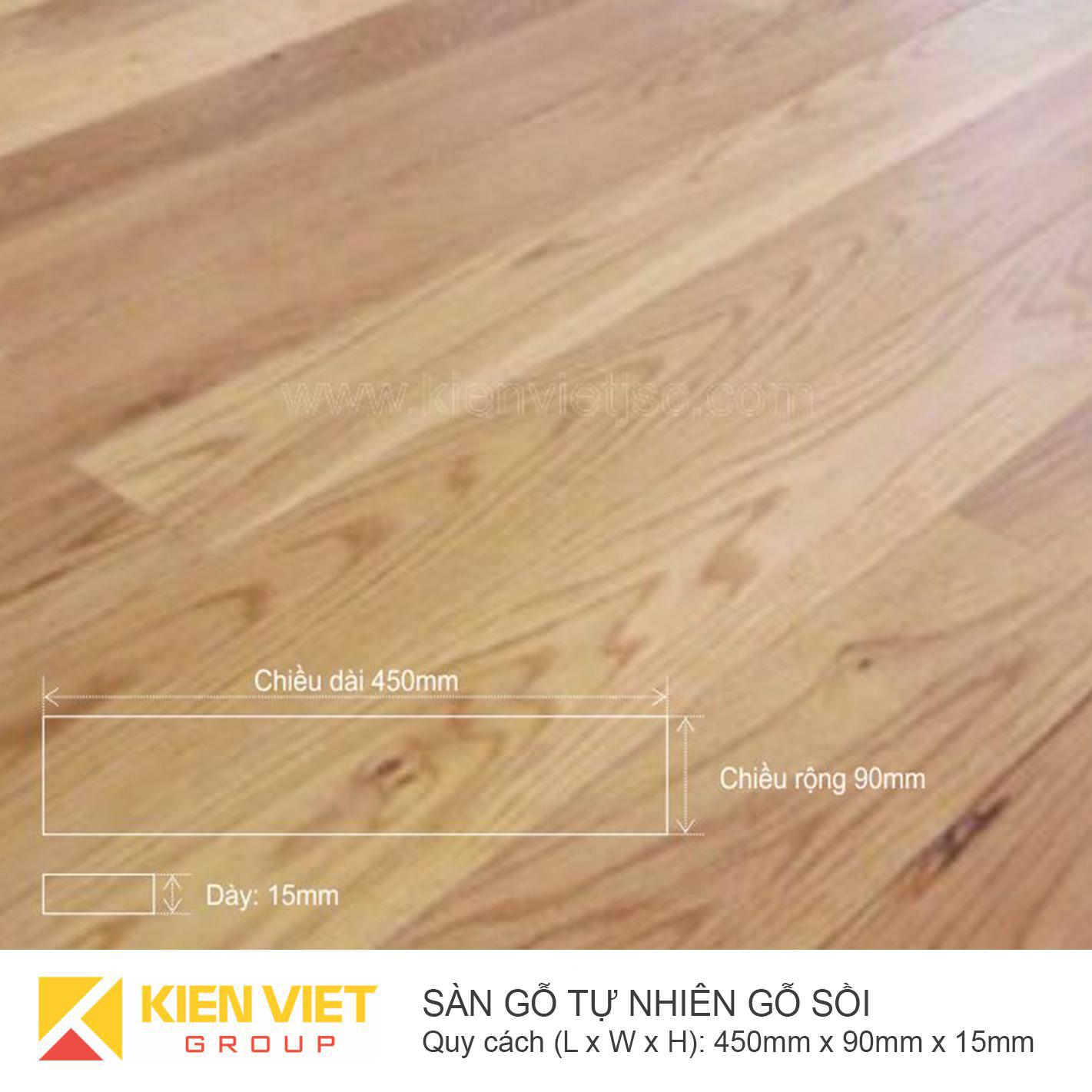 Sàn gỗ tự nhiên gỗ Sồi 450x15mm