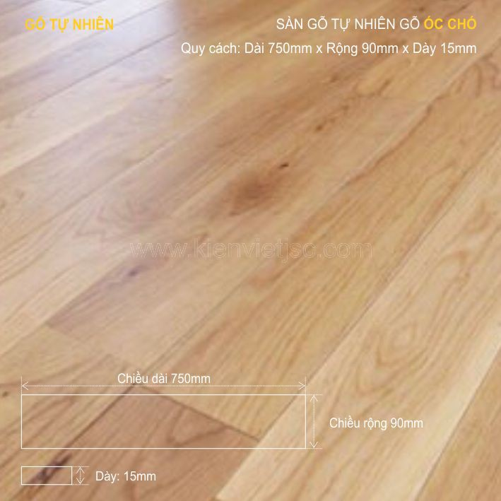 Sàn gỗ tự nhiên gỗ Sồi 750x15mm