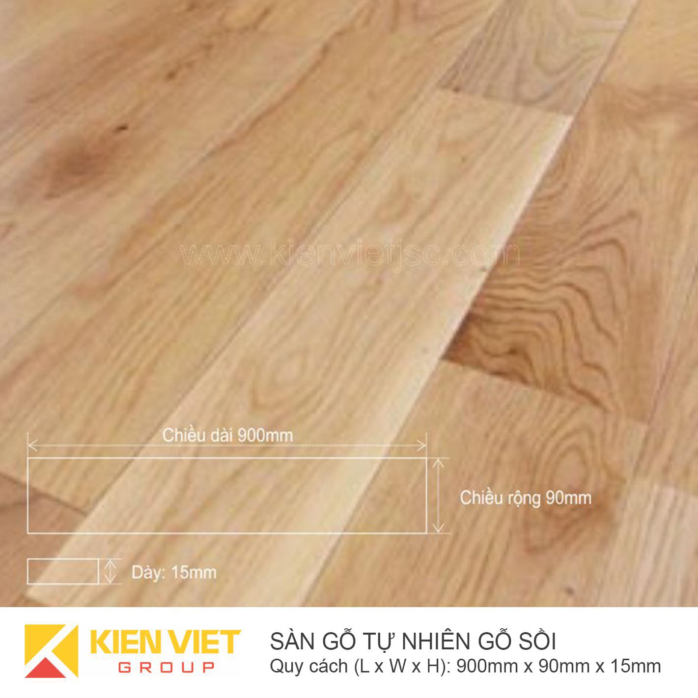 Sàn gỗ tự nhiên gỗ sồi 900x15mm