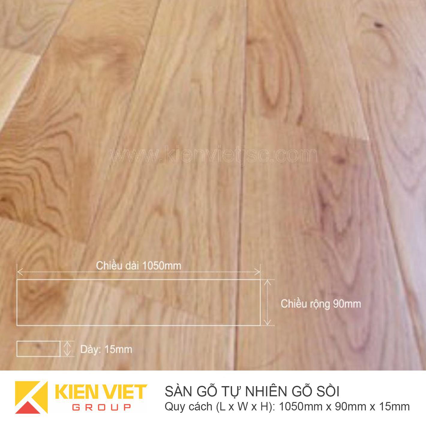 Sàn gỗ tự nhiên gỗ Sồi 1050x15mm