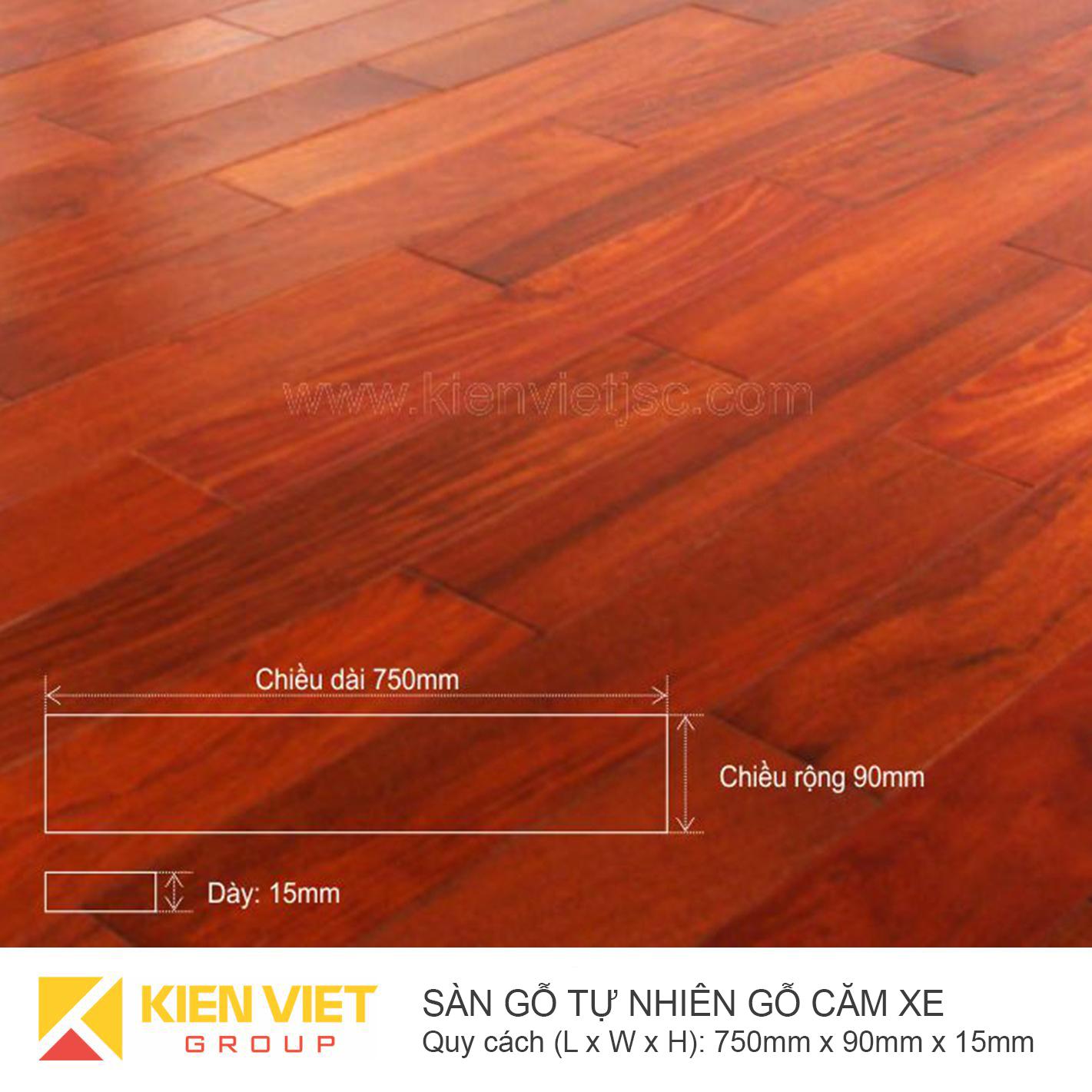 Sàn gỗ tự nhiên Căm xe 750x15mm