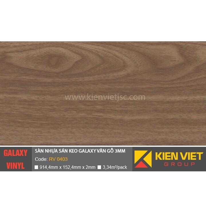 Sàn nhựa dán keo Galaxy vân gỗ RV 0403 | 3mm