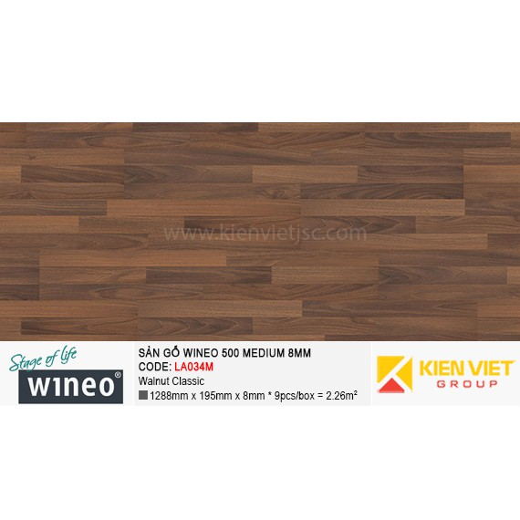 Sàn gỗ Wineo 500 Medium - LA034M | Walnut Classic 8mm