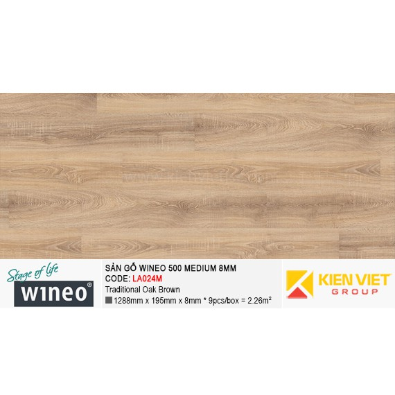Sàn gỗ Wineo 500 Medium - LA024M | Traditional Oak Brown 8mm
