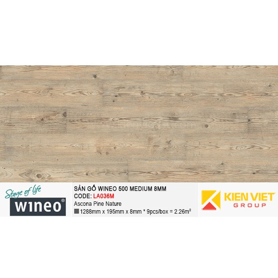 Sàn gỗ Wineo 500 Medium - LA036M | Ascona Pine Nature 8mm