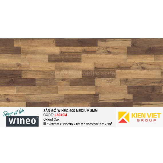 Sàn gỗ Wineo 500 Medium - LA040M | Oxford Oak 8mm