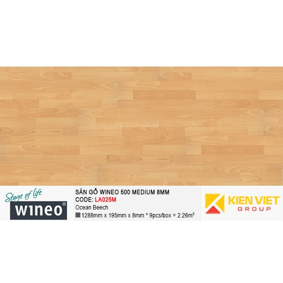 Sàn gỗ Wineo 500 Medium - LA025M | Ocean Beech 8mm