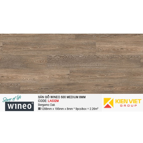 Sàn gỗ Wineo 500 Medium - LA032M | Bergamo Oak 8mm