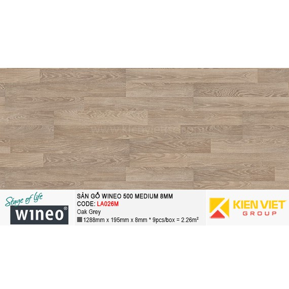 Sàn gỗ Wineo 500 Medium - LA026M | Oak Grey 8mm
