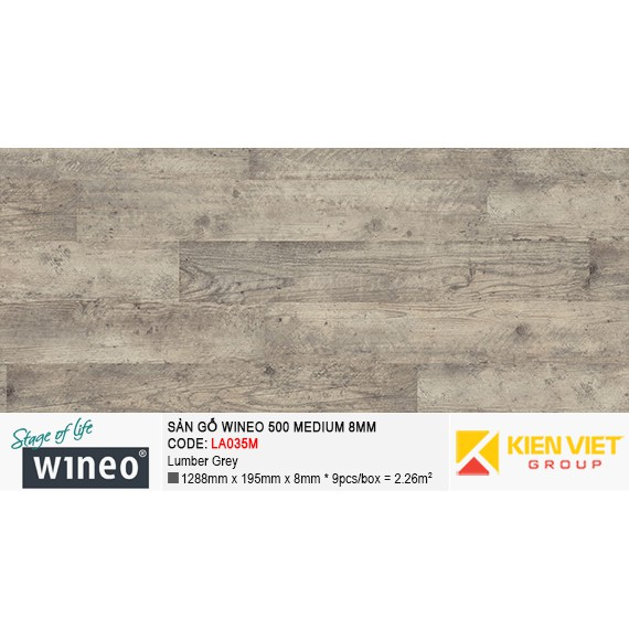 Sàn gỗ Wineo 500 Medium - LA035M | Lumber Grey 8mm
