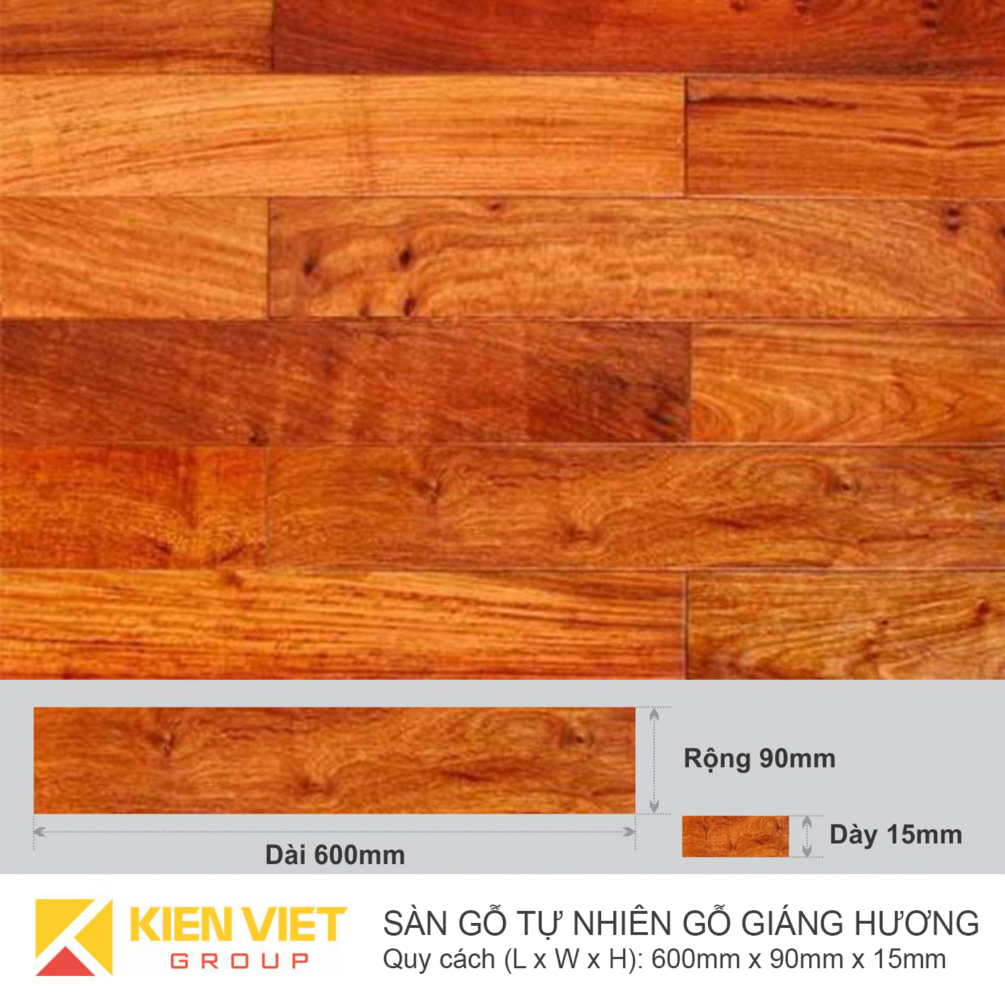 Sàn gỗ tự nhiên Giáng hương 600x15mm
