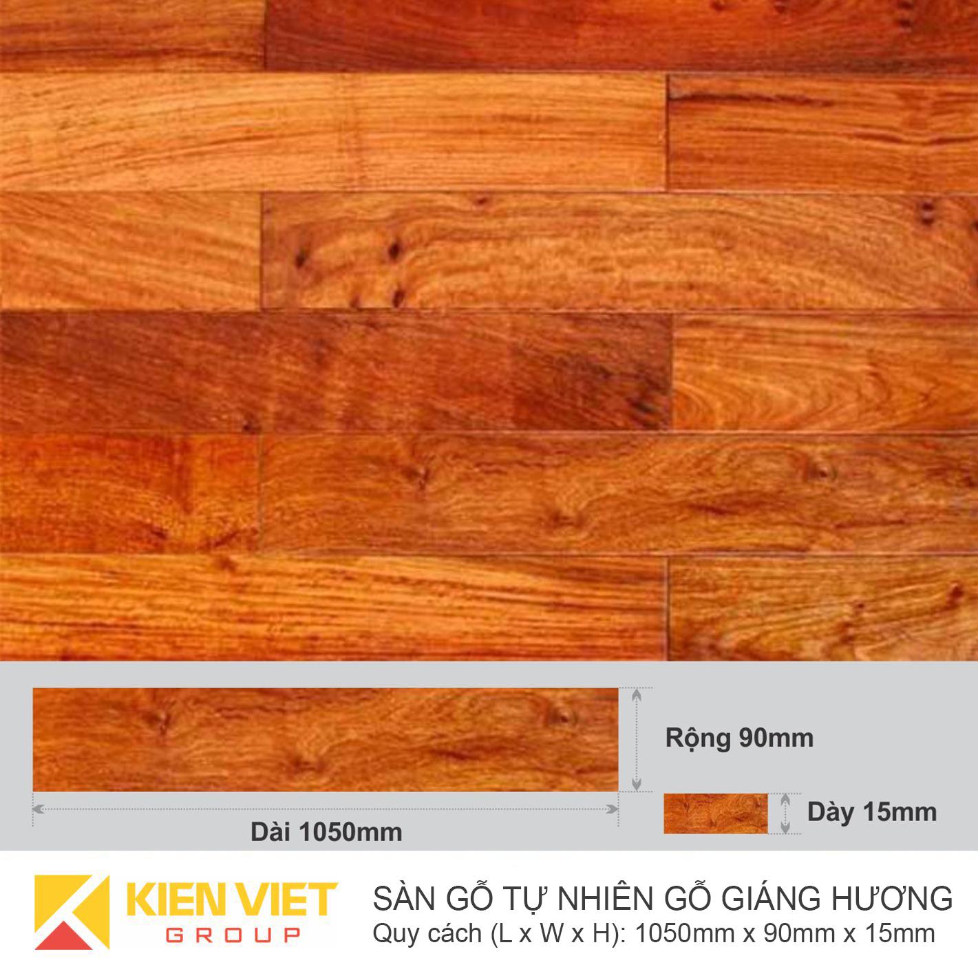 Sàn gỗ tự nhiên Giáng hương 1050x15mm