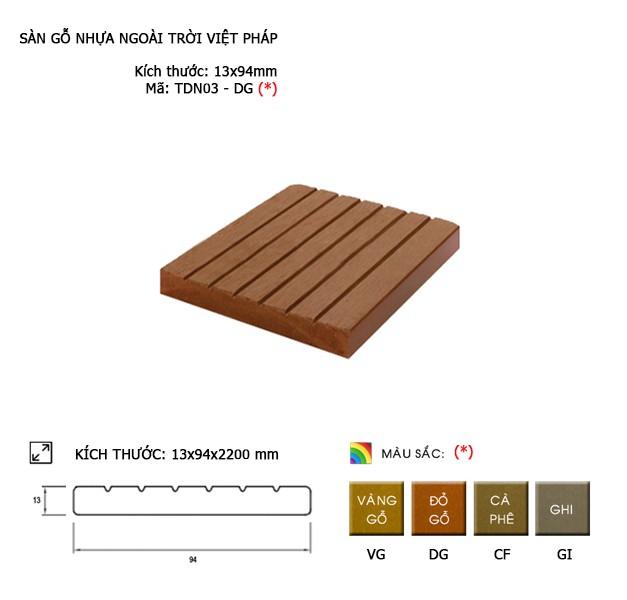 Sàn gỗ nhựa ngoài trời Việt Pháp TDN03-DG | 13x94mm