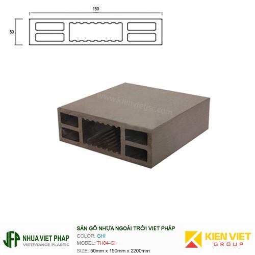 Sàn gỗ nhựa ngoài trời Việt Pháp TH04-GI   50x150mm