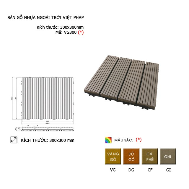 Vỉ gỗ Việt Pháp VG300 | 300*300*25mm
