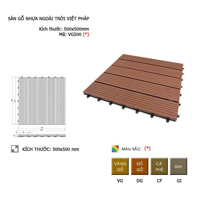 Vỉ gỗ Việt Pháp VG500 | 500*500*25mm