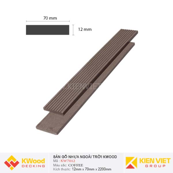 Sàn gỗ ban công ngoài trời Kwood KW70x12 Coffee