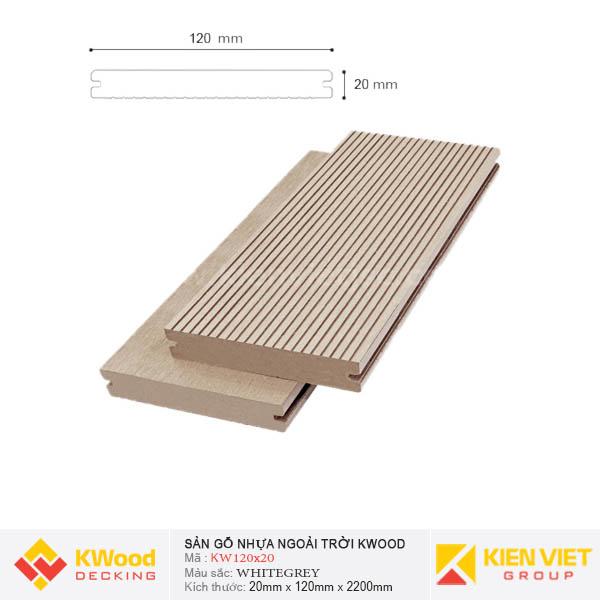 Sàn gỗ ngoài trời Kwood SD120x20 Whitegrey