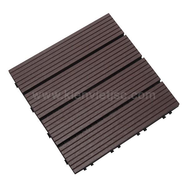 Vỉ gỗ nhựa ban công 30x30 Coffee 4 nan