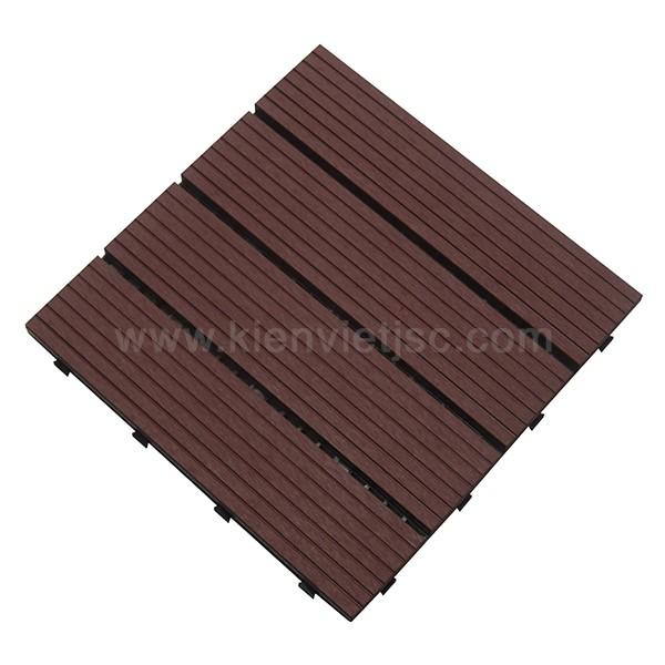 Vỉ gỗ nhựa ban công 30x30 Red Coffee 4 nan