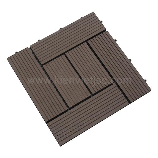 Vỉ gỗ nhựa ban công 30x30 Coffee 6 nan