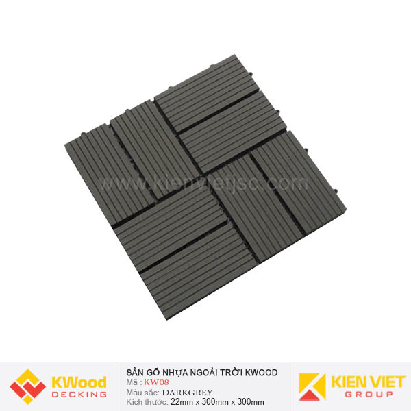 Vỉ Gỗ Nhựa Kwood KW08 Dark Grey