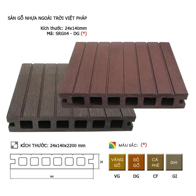 Sàn gỗ nhựa ngoài trời Việt Pháp SRG04 - 6 lỗ | 24x140mm