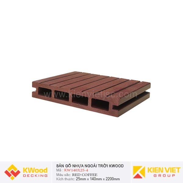 Sàn gỗ ngoài trời Kwood KW140x25-4 Red Coffee
