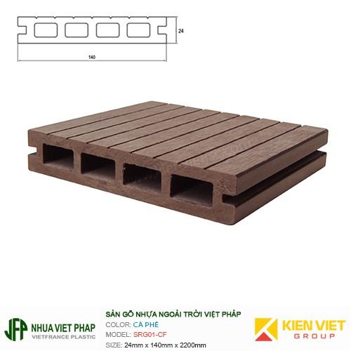 Sàn gỗ nhựa ngoài trời Việt Pháp SRG01-CF 4 lỗ | 24x140mm