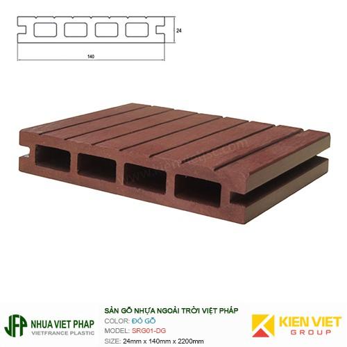 Sàn gỗ nhựa ngoài trời Việt Pháp SRG01-DG 4 lỗ | 24x140mm