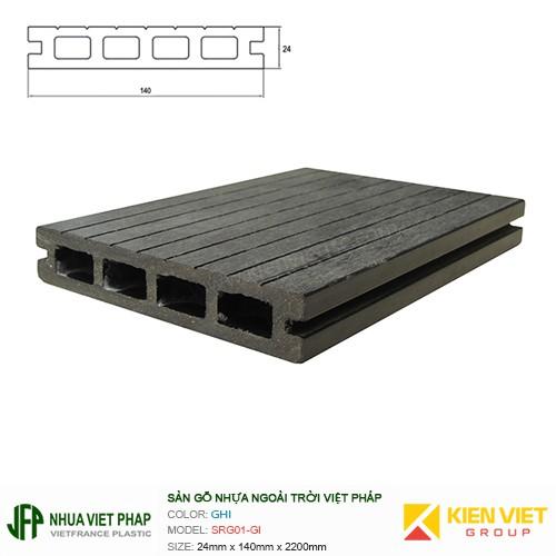 Sàn gỗ nhựa ngoài trời Việt Pháp SRG01-DI 4 lỗ | 24x140mm