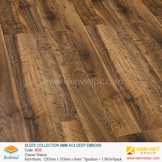 Sàn gỗ Robina architect collection W25 Classic Walnut | 8mm