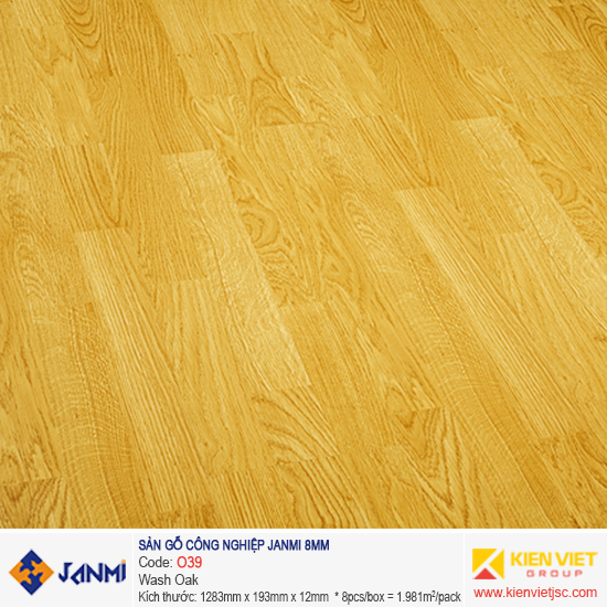 Sàn gỗ Janmi O39 Wash Oak | 8mm