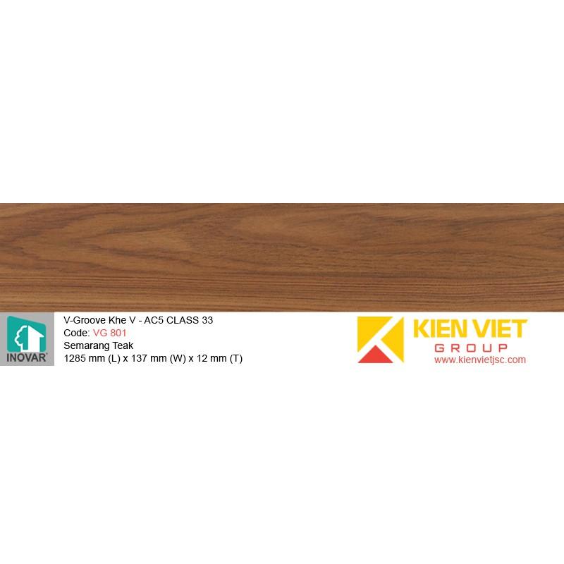 Sàn gỗ Inovar V-Groove VG 801 Semarang Teak | 12mm