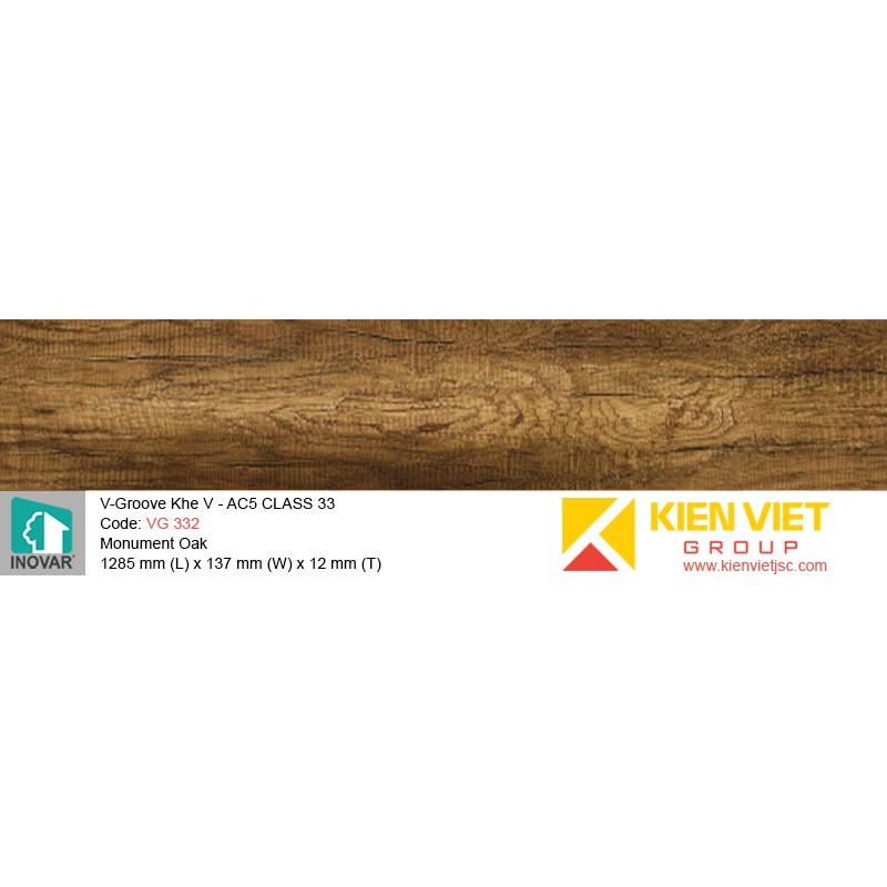 Sàn gỗ Inovar V-Groove VG 332 Monument Oak | 12mm