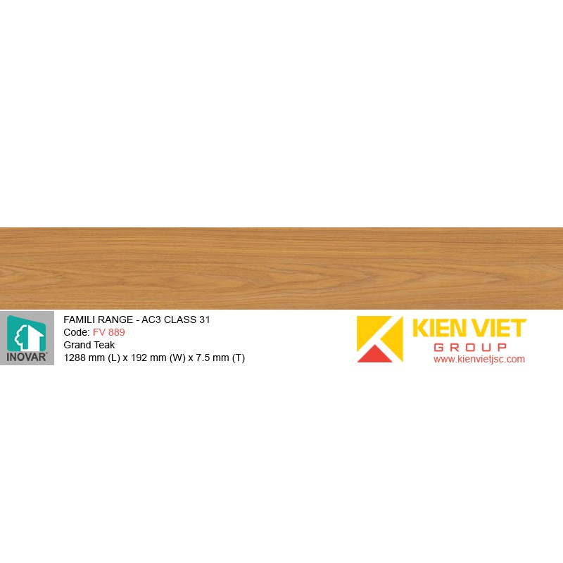 Sàn gỗ Inovar Famili Range FV889 Grand Teak | 7.5mm
