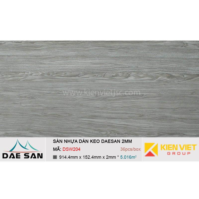Sàn nhựa dán keo phủ sẵn DAESAN DSW204 | 2mm