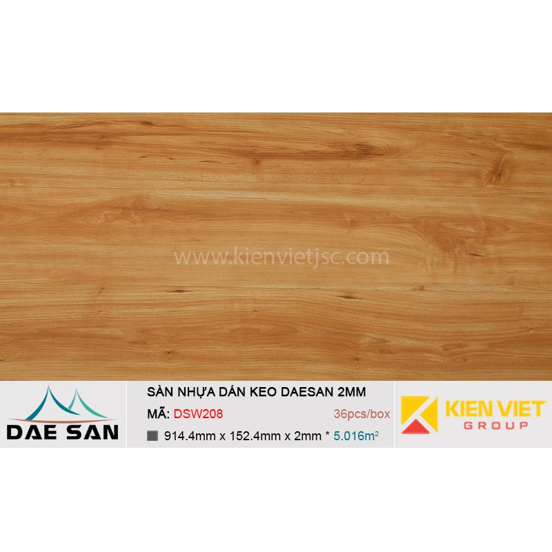Sàn nhựa dán keo phủ sẵn DAESAN DSW208 | 2mm