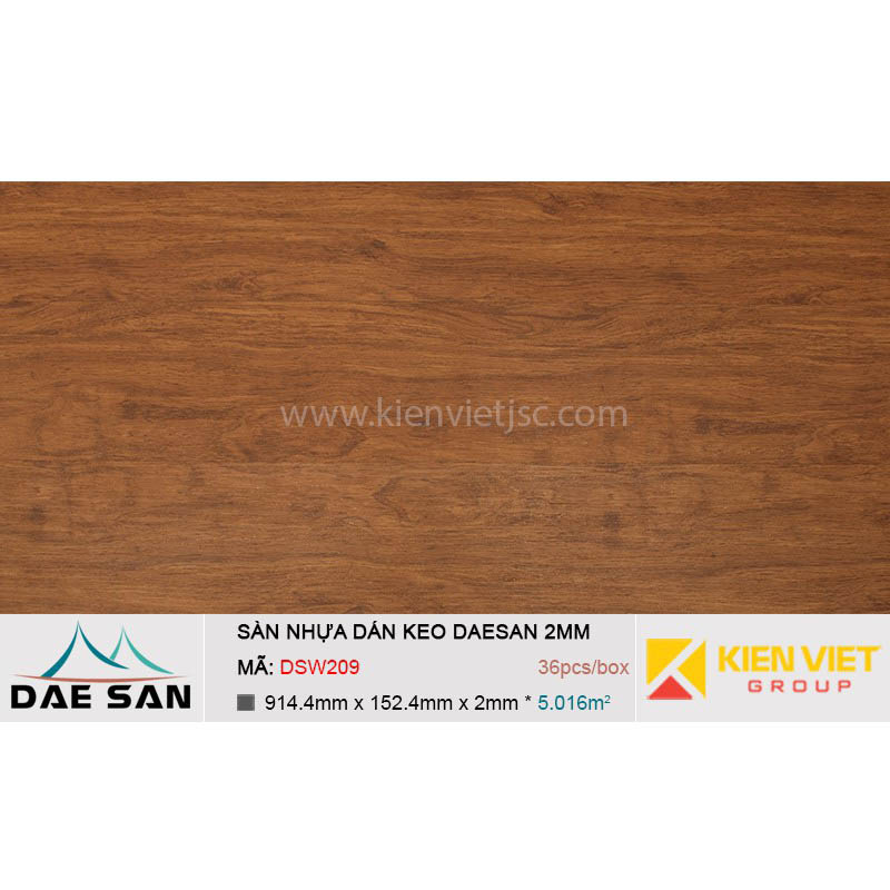 Sàn nhựa dán keo phủ sẵn DAESAN DSW209 | 2mm