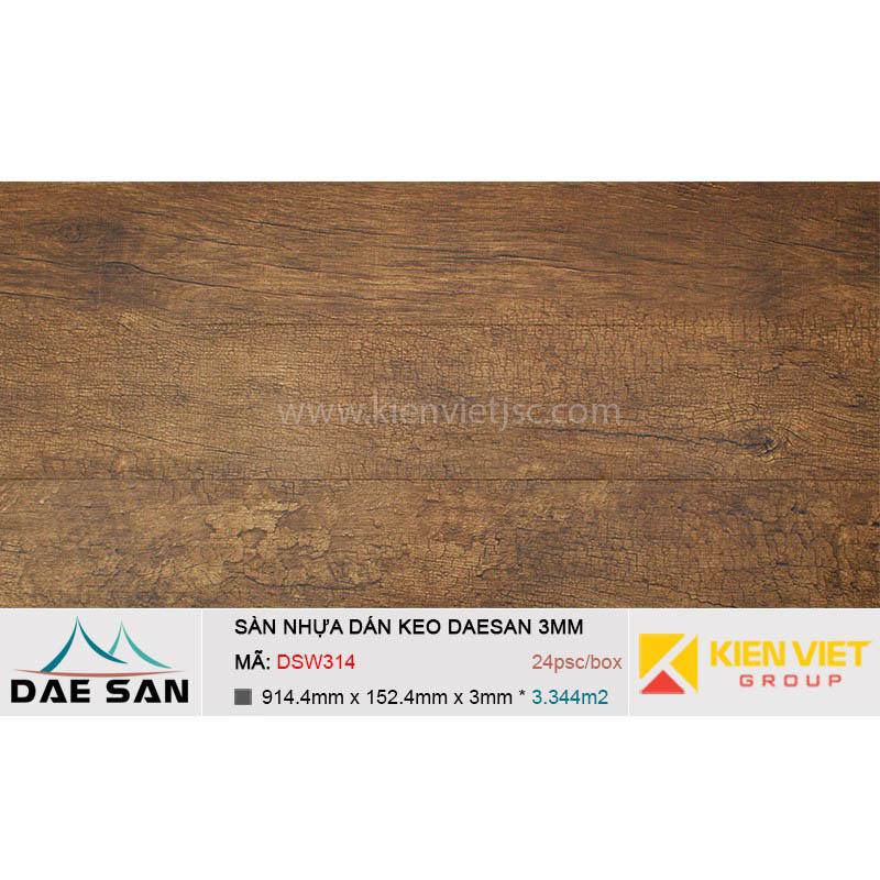 Sàn nhựa dán keo DAESAN DSW314 | 2mm