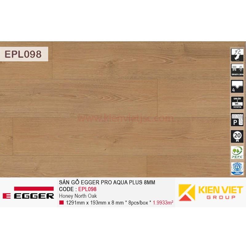 Sàn gỗ Egger Pro Aqua EPL098 Honey North Oak | 8mm