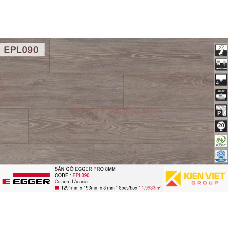 Sàn gỗ Egger Pro EPL090 Coloured Acacia | 8mm