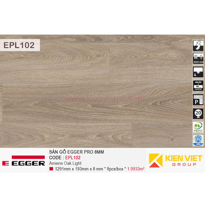 Sàn gỗ Egger Pro EPL102 Amiens Oak Light | 8mm