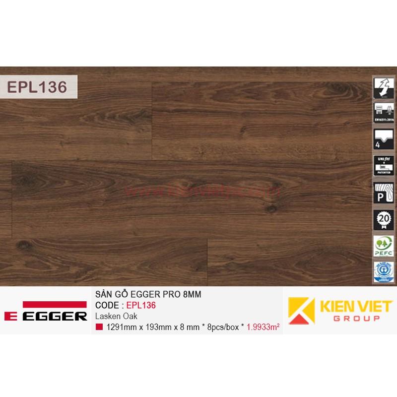 Sàn gỗ Egger Pro EPL136 Lasken Oak | 8mm