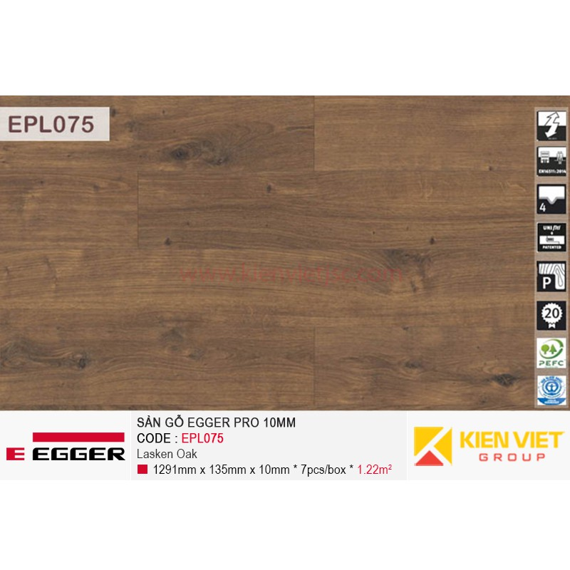 Sàn gỗ Egger Pro EPL075 Natural Canton Oak | 10mm